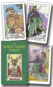 picture of Robin Wood tarot box and three sample cards: Strength, King of Cups, and Queen of Cups