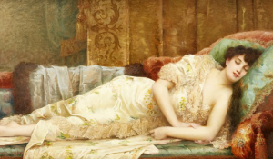 Vintage painting of a woman reclining on a couch