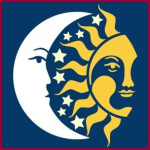 Drawing of a half-moon and half sun sharing space
