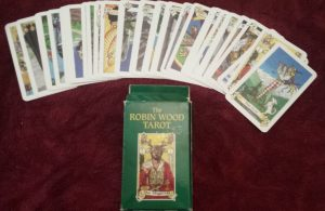 photo of Robin Wood Tarot spread out with box