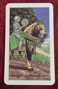 photo of the Knight of Pentacles from the Robin Wood tarot deck
