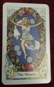 photo of The World card from the Robin Wood tarot deck