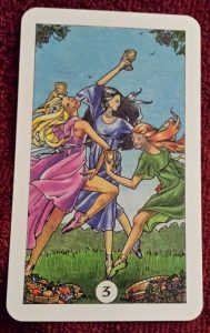 Photo of the 3 of Cups from the Robin Wood Tarot deck