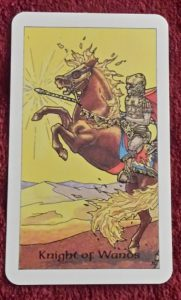 Photo of the Knight of Wands from the Robin Wood tarot