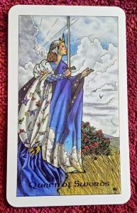 Photo of the Queen of Swords from the Robin Wood tarot