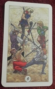 photo of the 5 of Wands from the Robin Wood tarot