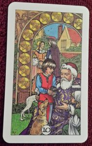 photo of the 10 of pentacles from the Robin Wood tarot