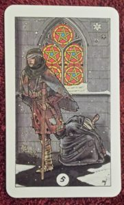 Photo of the Five of Pentacles from the Robin Wood tarot