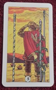 photo of the Three of Wands from the Robin Wood tarot