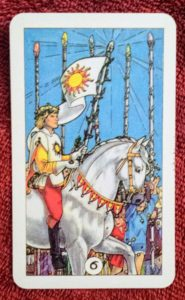 photo of the Six of Pentacles from Robin Wood's tarot