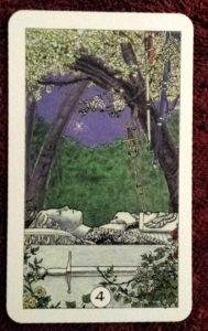 photo of the Four of Swords from Robin Wood's tarot