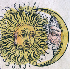 Old line drawing of sun and moon figures