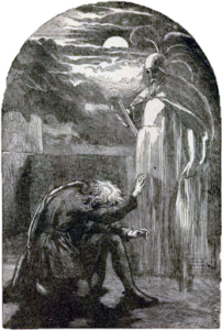 ink drawing of Hamlet kneeling before the ghost of his father