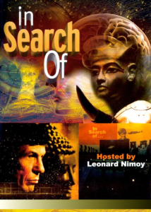 Poster for In Search of with pictures of exotic landscapes and a profile of Leonard Nimoy