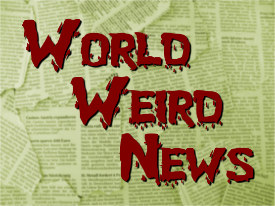 "Aging newspaper clippings overlayed with the words ""World Weird News"""