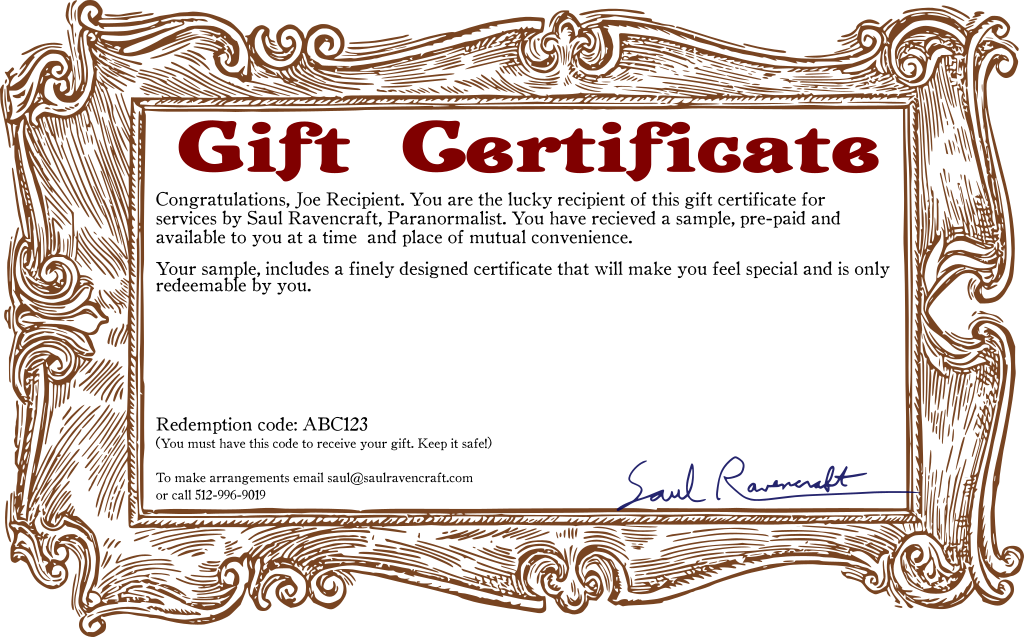 Picture of a gift certificate with a generic name and description