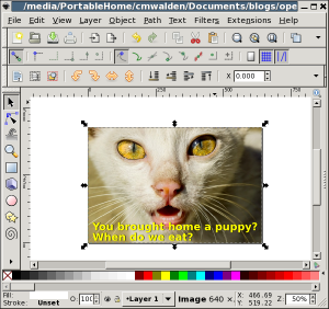 Screenshot: editing the picture in Inkscape